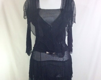 1920s Black Mesh Draped Flapper Dropwaist Party Dress with Rhinestone Buckle size S