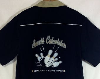"Mens 90s does 50s ""Smooth Calculators"" Button Up Bowling Shirt size M"