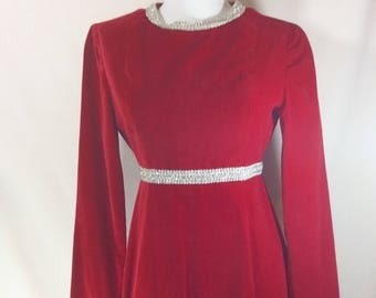 Womens 1960s Empire Waist Red Velvet Mod Long Sleeve Mini Dress with Metallic Silver Trim size XS-S