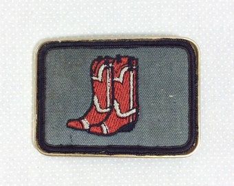 1970s Embroidered Red Cowboy Boot Belt Buckle
