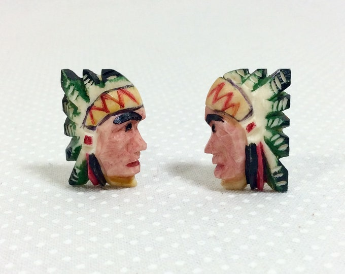 Featured listing image: 1940s Native American Indian Chief Carved Bone Screw-Back Earrings