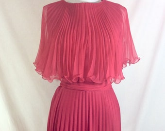 1970s Magenta Pleated Disco Dress with Shoulder Peplum and Tie Belts size M