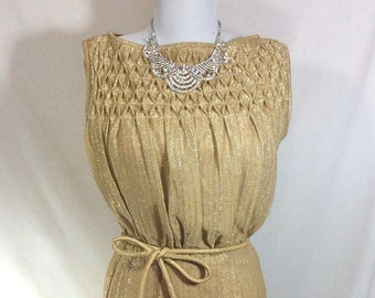 1960s Metallic Gold Sleeveless Cocktail Dress with Tie Belt and Textured Neckline size S