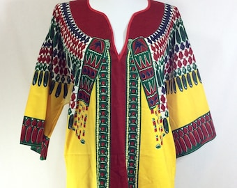 1970s Tribal Tunic With Eagle Wing Print and Bell Sleeves size M