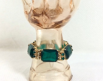 1950s Emerald Jewel and Rhinestone Gold Link Bracelet with Security Chain