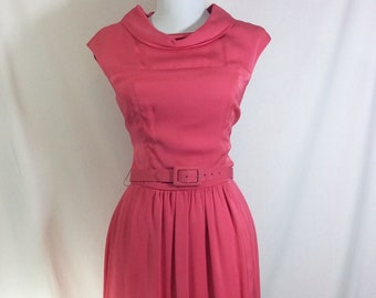 1960s Pink Jackie Sleeveless Cowl Neck Dress with Bow Belt size S/M