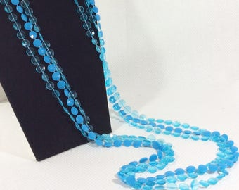 1960s Long 3 Strand Blue Plastic GoGo Bead Necklace