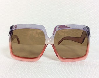 1970s Italian Oversized Purple and Pink Ombre Sunglasses