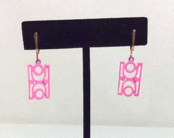 1960s Pink Tiki Geometric Screw-On Earrings