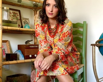 Womens Vintage Orange Floral Belted Sac Dress with Elastic Drawstring Neckline and Bell Sleeves size 6-16