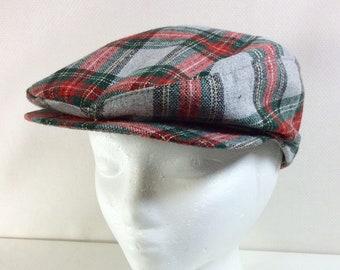 1970s Unisex Union-Made Wool Plaid Newsboy Hat