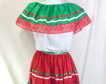 Festive Mexican Off the Shoulder Huipil Dress with Ribbon and Lace size M/L
