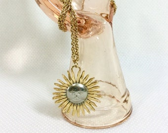 1960s Gold and Silver Mr. Sun Pendant Necklace on Long Gold Chain