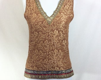 1990s Stretch Lace Metallic Boho Hanky Panky Tank with Embroidered Trim size S/M