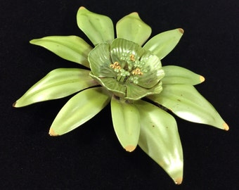 Vintage Asymmetrical 1960s Green Metal 3 Inch Flower Brooch
