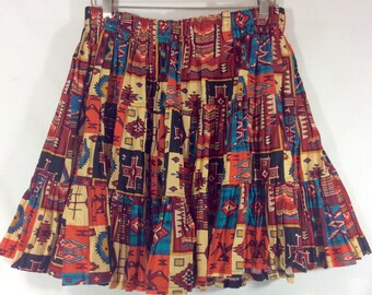 Womens Vintage Southwestern Print Frilly Line Dancing Mini Skirt size S/M
