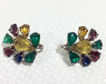 1960s Rainbow Jewel Cluster Clip On Earrings