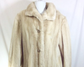 1950s Genuine Blonde Mink Fur UNION MADE Hip Length Coat size L/XL
