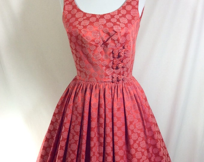 Featured listing image: 1950s Coral Embroidered Floral A-Line Sleeveless Dirndl Dress with Fabric Toggles size 4/6