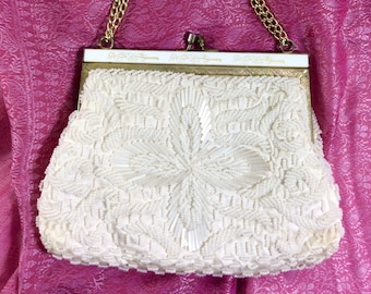 1950s White Beaded Clamshell Purse with Floral Hardware and Gold Chain Strap