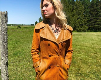1960s Mustard Leather and Suede Blocked Western Duster Jacket size S