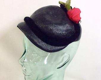 1940s Black Velvet Straw Fascinator Hat with Fabric Rose and Rhinestone