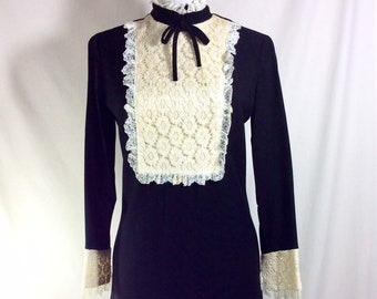 1960s Wednesday Mod Dress with Lace Bib and Cuffs size S