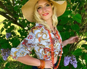 1970s Paisley Floral Psycahdelic Long Sleeve Button Up Blouse with Large Lapels size L