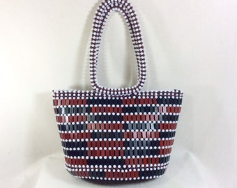 1960s Beaded Tile Structured Bucket Tote with Beaded Handles
