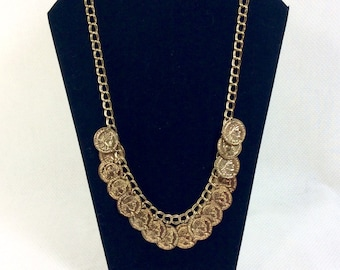 1980s Gold Francaise Republique Runway Coin Charm Chain Necklace