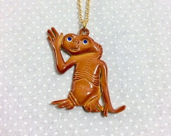1980s E.T. Ceramic Enamel Pendant Necklace on Gold Chain