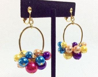 1980s Rainbow Bubble Dangly Gold Hoop Earrings