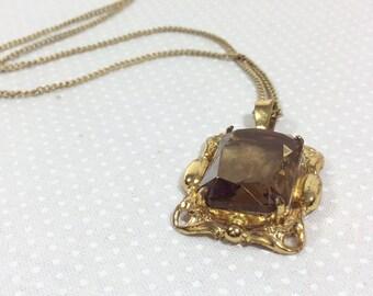 Vintage Smoky Quartz Rectangular Pendant with Gold Filigree on Gold Chain