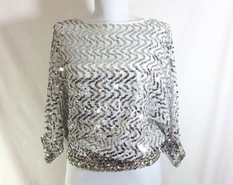 1970s Silver Sequined Sheer White Chevron Blouse with Elastic Waist and Cuffs size M