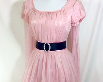 1960s Pink Baby Doll Dress With Shoulder Scarfs and Cap Sleeves size S