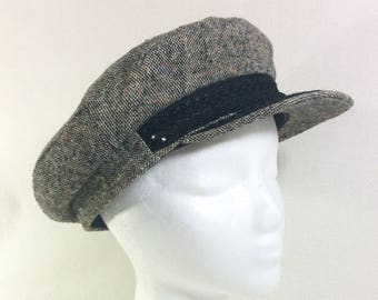 1960s Union Made Grey Tweed Captain's Hat with Black Trim size L