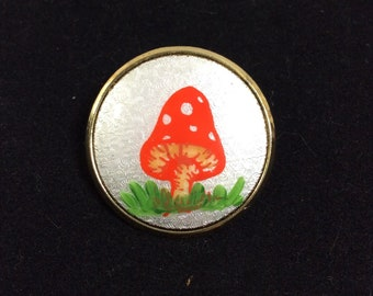 1970s Small Orange Spotted Mushroom Pin