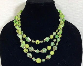 1960s Lime Green Glass Bead 3-Strand Necklace