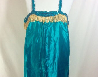 Vintage Teal Sequin Satin Flapper Costume with Gold Fringe size M