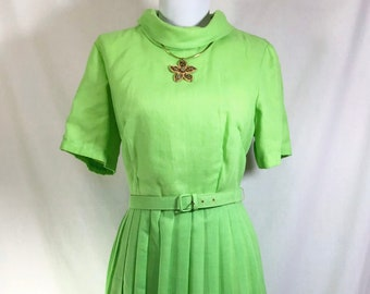 1960s Lime Green Cowl Neck Short Sleeve Belted Day Dress with Pleated Skirt size S