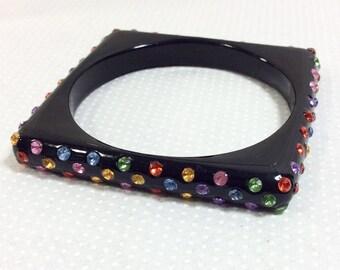 1970s Rainbow Rhinestone Studded Black Lucite Square Bangle Bracelet