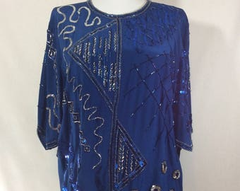 Royal Blue Short Sleeve Silk Asymmetrical Blouse with Metallic Beading and Sequins size M