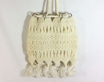 1970s Pom Pom Fringed Ivory Macrame Purse with Metal Hoops and Drawstring