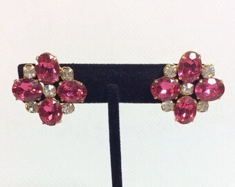 1960s Hot Magenta Rhinestone Screw Back Earrings