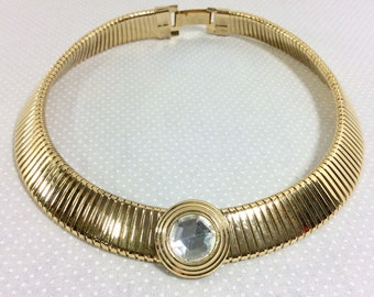 1980s Gold Omega Snake Chain Cleopatra Choker with Large Jewel
