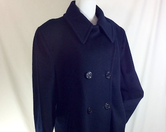 1960s Navy Blue Wool Double Breasted Peacoat with Anchor Buttons size XL