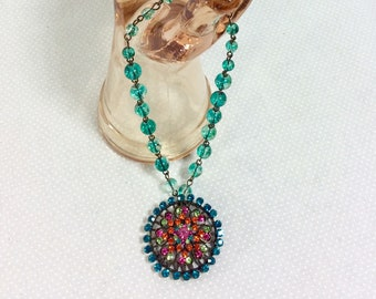 Vintage Rhinestone Mandala Pendant Necklace with Teal Flecked Beads