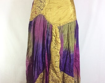 1980s Studded Patchwork Jewel Tone Boho Scarf Skirt with Lace size M
