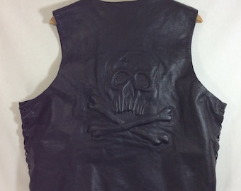 Mens Raised Skull Black Leather Vest with Lace-Up Sides size XXL