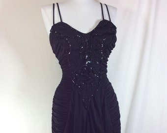 1980s Sexy Beaded Black Rouched Dress with Rhinestone Embelishment Size XS/S
